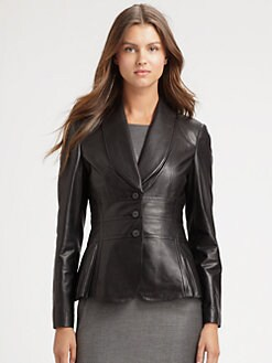 BOSS Black - Leather Peplum Jacket