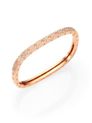 Pois Moi Pavé Diamond & 18K Rose Gold Single-Row Bangle Bracelet