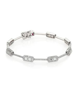 Baguette Deco Diamond & 18K White Gold Classic Bracelet