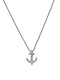 Roberto Coin - Diamond & 18K White Gold Anchor Necklace