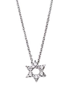 Roberto Coin - Diamond & 18K White Gold Star Of David Necklace