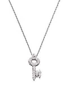 Roberto Coin - Diamond & 18K White Gold Key Necklace
