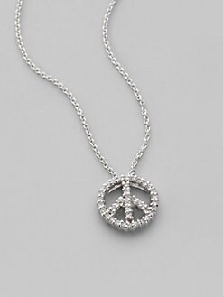 Roberto Coin - Diamond & 18K White Gold Peace Symbol Necklace