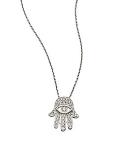 Roberto Coin - 18K White Gold Diamond Hamsa Pendant Necklace