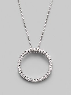Roberto Coin - Diamond & 18K White Gold Circle Necklace/ &frac34;