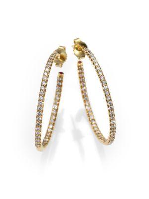 "Diamond & 18K Yellow Gold Hoop Earrings/1.2"""