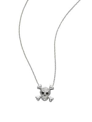 Tiny Treasures Diamond & 18K White Gold Skull Pendant Necklace