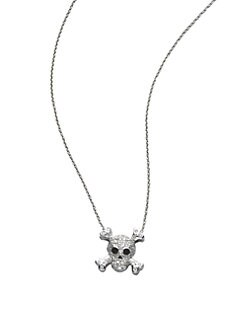 Roberto Coin - Diamond & 18K White Gold Skull Necklace