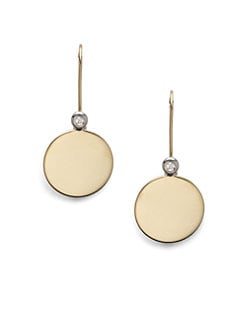 Roberto Coin - 18K Yellow Gold & Diamond Round Disc Earrings