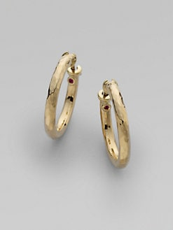 Roberto Coin - 18K Yellow Gold Hammered Hoop Earrings/1&frac14