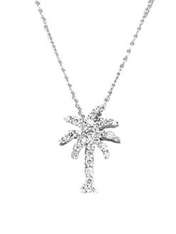 Roberto Coin - Diamond & 18K White Gold Palm Tree Necklace