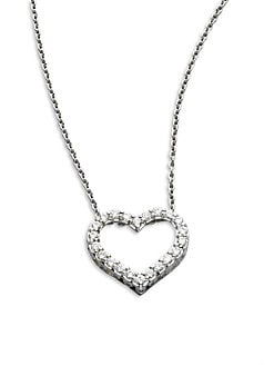 Roberto Coin - Diamond & 18K White Gold Open Heart Necklace/.75