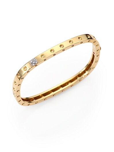 Pois Moi Diamond & 18K Yellow Gold Single-Row Bangle Bracelet