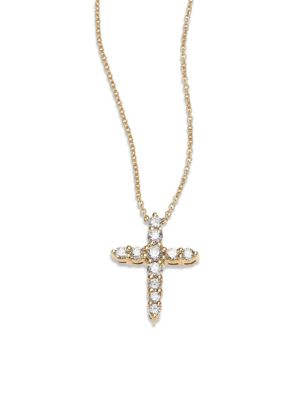 Tiny Treasures Diamond & 18K Yellow Gold Cross Pendant Necklace