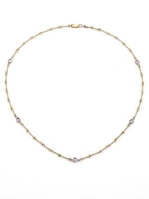 Diamond & 18K Yellow Gold Station Necklace/16