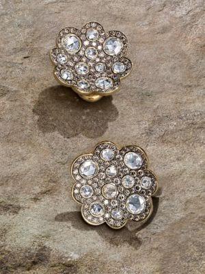 Diamond & 18K Gold Button Earrings