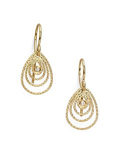 Roberto Coin - 18K Gold Diamond Moresque Teardrop Earrings