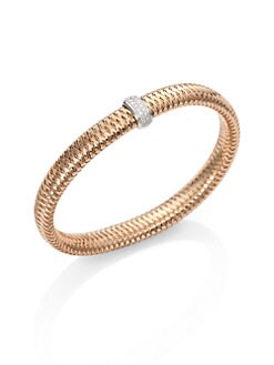 Roberto Coin - Diamond & 18K Rose & White Gold Woven Bracelet