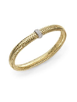 Roberto Coin - Diamond and 18K Yellow Gold Woven Bracelet