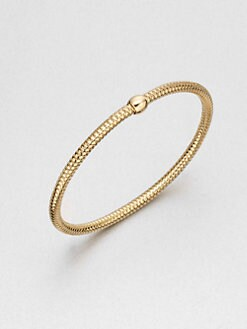 Roberto Coin - Bead Accented Mesh Bangle Bracelet/18K Gold