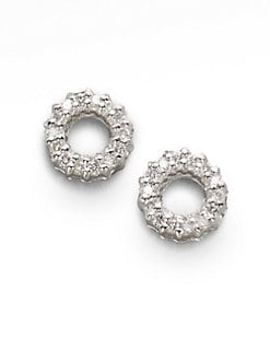 Roberto Coin - Diamond & 18K White Gold Circle Earrings