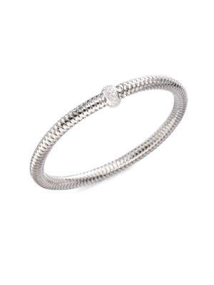 0.22 TCW Primavera Diamond & 18K White Gold Woven Bracelet
