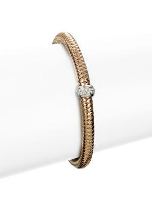 Primavera 18K Rose Gold & Diamond Woven Bracelet