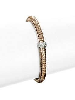 Roberto Coin - Diamond 18K White & Rose Gold Bangle Bracelet