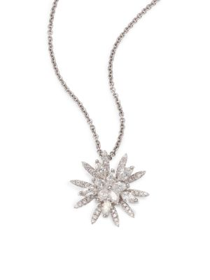 Diamond & 18K White Gold Flower Pendant Necklace