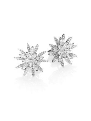 Diamond & 18K White Gold Flower Button Earrings