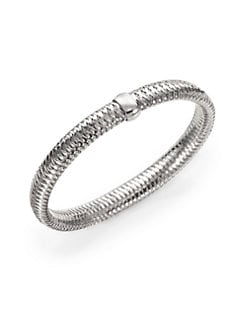 Roberto Coin - 18K White Gold Woven Bracelet/Medium