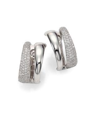 Scalare Diamond & 18K White Gold Huggie Earrings