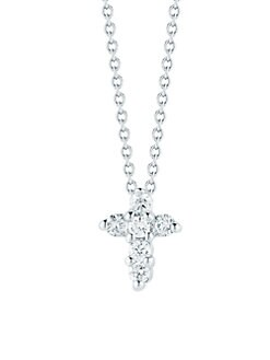 Roberto Coin - Diamond & 18k White Gold Baby Cross Necklace