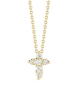 Roberto Coin - 18K Gold Diamond Mini Cross Pendant