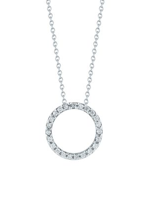 Tiny Treasures 0.11 TCW Diamond & 18K White Gold Petite Circle Pendant Necklace