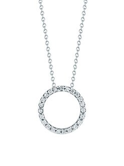 Roberto Coin - Diamond & 18K White Gold Circle Necklace/0.5