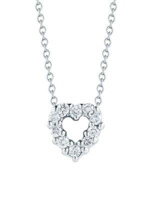 Tiny Treasures 0.11 TCW Diamond & 18K White Gold Mini Heart Pendant Necklace