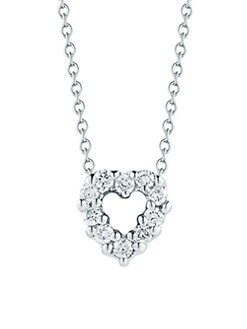 Roberto Coin - Diamond & 18K White Gold Open Heart Necklace