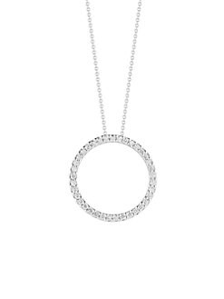 Roberto Coin - Diamond & 18K White Gold Circle Necklace/0.75