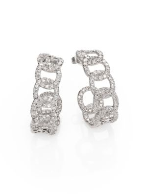Diamond & 18K White Gold Link J-Hoop Earrings
