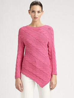 St. John - Asymmetrical Cable-Knit Sweater