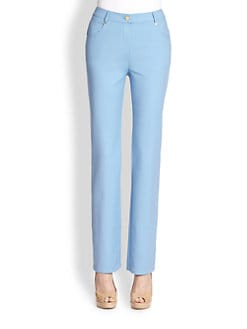 St. John - Stretch Cotton Straight Leg Pants