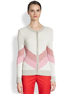 St. John - Chevron-Print Ribbed Wool-Blend Cardigan