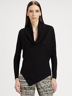 St. John - Asymmetrical Rib-Knit Wool Sweater