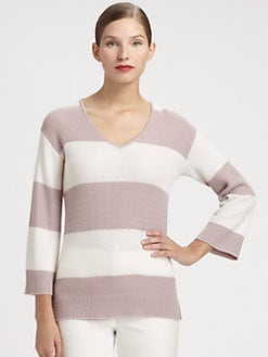 St. John - Striped Crochet Knit Pullover