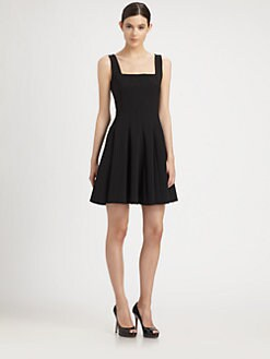 Moschino - Square-Neck Pleated Dress
