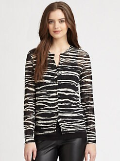 M Missoni - Zebra-Stripe Cardigan Sweater