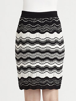 M Missoni - Zigzag Striped Knit Skirt