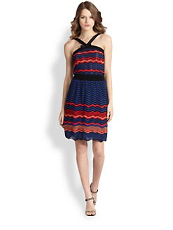 M Missoni - Strappy Zigzag Colorblock Dress