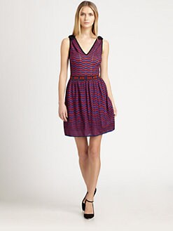 M Missoni - Bow-Shoulder Zigzag Dress